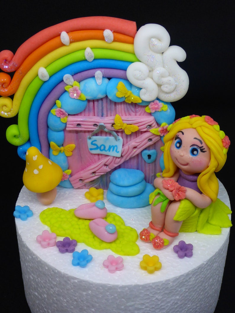 Fairy Door Rainbow Birthday Handmade Edible Cake Topper