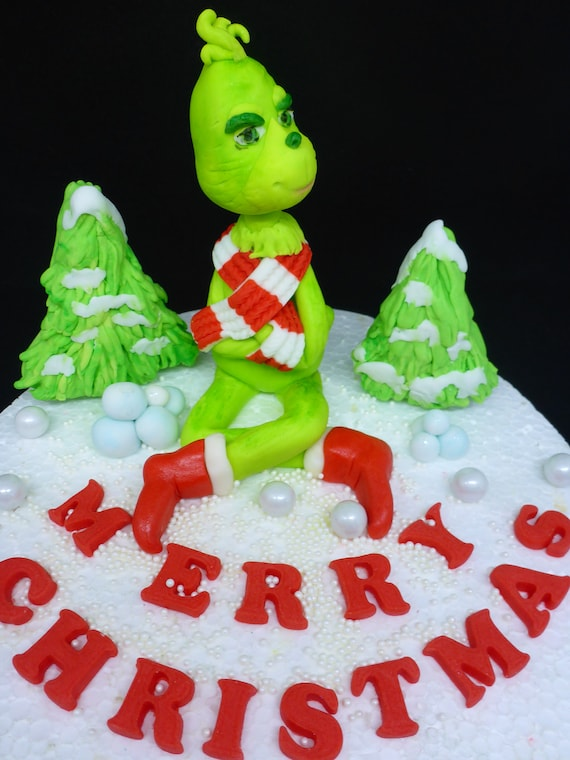 Christmas Birthday Cake.Handmade Edible The Grinch Inspired Christmas Birthday Cake Topper Decoration