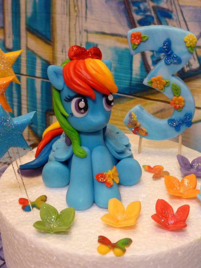 My Little Pony Rainbow Dash handmade cake topper | Etsy