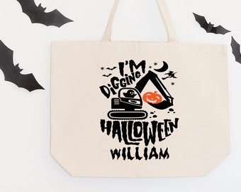 Trick or Treat Bags, Personalized Halloween Bag, I'm Digging Halloween, Halloween Candy Bags, Halloween Treat Bags, Halloween Gift, For Boys