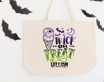 Trick or Treat Candy Bags, Personalized Halloween Bag, Halloween Candy Bags, Halloween Treat Bags for Kids, Halloween Gift, Custom Tote