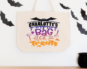 Trick or Treat Bags, Personalized Halloween Bag, Halloween Candy Bags, Halloween Treat Bags for Kids, Halloween Gift, Custom Tote