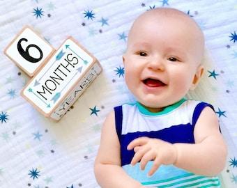 Baby Milestone Blocks - Baby Age Blocks - Pregnancy Photo Prop - Teal - Arrow Nursery Decor - Gender Neutral Baby Gift - Baby Shower Gift