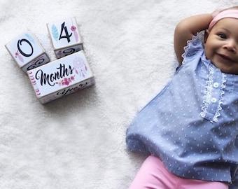 Baby Girl - Baby Age Blocks - Baby Milestone Blocks - Baby Photo Props - Monthly Baby Blocks - Boho Nursery - Dream Catcher - Baby Keepsake