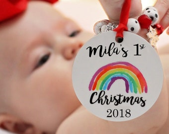 Personalized Ornament, Rainbow Baby, Baby's First Christmas Ornament, Baby's 1st Christmas, Holiday Decor, Colorful Christmas, Modern