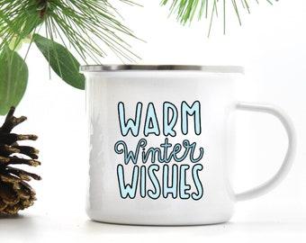 Christmas Mug - Warm Winter Wishes Cup - Gift for Her - Gift for Him - Christmas Gift - Campfire Mug - Hot Chocolate Mug - Coffee Mug