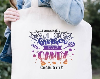 Trick or Treat Bags, Personalized Halloween Bag, Will Trade Brother For Candy Bag, Halloween Treat Bags for Kids, Halloween Gift For Girls