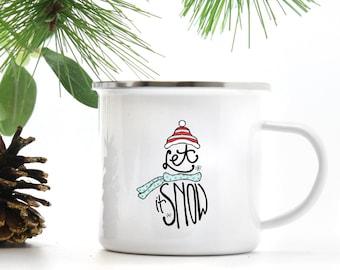 Christmas Mug - Let It Snow - Winter Cup - Gift for Her - Christmas Gift - Campfire Mug - Hot Chocolate Mug - Coffee Mug
