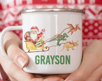 Personalized Holiday Gift - Dinosaur Christmas Mug - Santa - Hot Chocolate Mug - Christmas Gift For Kids - Personalized Gifts - Kids Mug