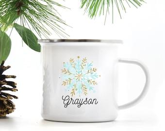 Kids Hot Chocolate Mug - Personalized Gifts - Snowflake Mug - Holiday Decor - Boys Hot Cocoa Mug - Birthday Gift for Kids - Unbreakable Mug