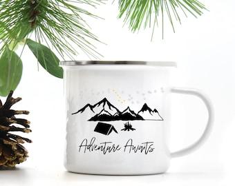 Mugs Personalised Gift Mountains, Campsite Campfire Enamel Mug, Adventure Awaits, Custom Camp Mug, Hiking Gift, Outdoor Camping Mug