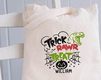 Trick or Treat Bags, Personalized Dinosaur Halloween Bag, Halloween Candy Bags, Halloween Treat Bags for Kids, Halloween Gift, T-rex Gift