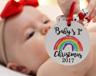 Baby's First Christmas Ornament Rainbow Baby