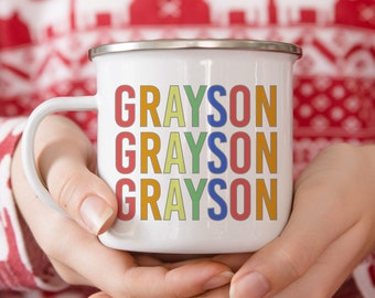 Personalized Mug for Kids - Hot Cocoa Mug - Rainbow - Gift For Kid - Gift For Boys - Gift for Girls - Christmas Mug - Hot Chocolate Mug