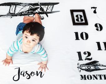 Baby Milestone Blanket - Baby Boy Gift - Monthly Baby Blanket - Age Blanket - Personalized Baby Blanket - Children's Photo Props - Airplane