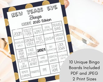 New Years Eve Decor - Family Games - Zoom - New Years Eve Games - 2020 Party Game - New Years Bingo 2020 - Funny Bingo Game - Bingo Game