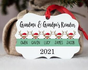 Personalized Ornament - Grandmother Christmas Ornament - Home Decor - Grandma Grandpa Gift - Reindeer Ornament - Christmas Decor - Grandkids