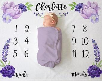 Baby Girl - Baby Milestone Blanket - Floral Blanket - Monthly Baby Age Blanket - Purple Flower Blanket - Baby Shower Gift - Growth Blanket