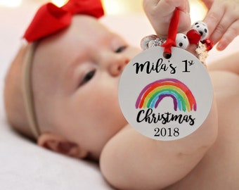 Personalized Rainbow Baby Christmas