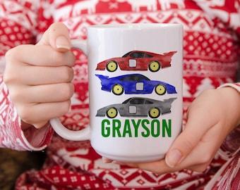 Gift for Boys - Personalized Gifts - Kids Hot Chocolate Mug - Christmas Mug - Hot Cocoa Mug - Race Car - Child Mug - Gift for Kid - Kids Mug