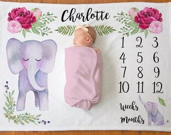 Elephant Milestone Blanket - Baby Milestone Blanket - Pink Floral - Monthly Baby Age Growth Blanket - Flower Blanket - Baby Shower Gift