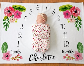 Floral Monthly Baby Milestone Blanket - Age Blanket - Personalized Baby Gift - Newborn Photo Props - Custom Baby Blanket - Baby Shower Gift