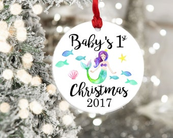 Baby's First Christmas Ornament, Baby Gift, Mermaid Ornament, Baby Ornament, Baby Christmas Gift, Christmas Ornament, Babys 1st Christmas