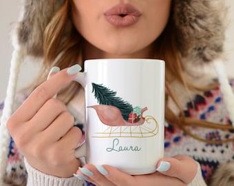 Personalized Gifts - Christmas Mug - Personalized Coffee Mug - Sleigh - Gift For Her - Pretty Mugs - Christmas Coffee Mug - Holiday Gift