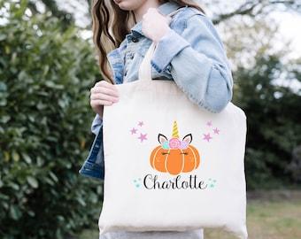 Trick or Treat Bags, Unicorn Pumpkin, Personalized Halloween Bag, Halloween Candy Bags, Halloween Treat Bags, Halloween Gift, Custom Tote