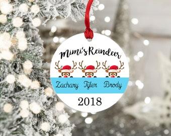 Personalized Ornament - Grandmother Christmas Ornament - Home Decor - Grandma Gift - Mimi's Reindeer - Christmas Decor