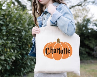 Trick or Treat Bags, Pumpkin, Personalized Halloween Bag, Halloween Candy Bags, Halloween Treat Bags for Kids, Halloween Gift, Custom Tote