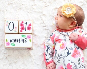 Baby Girl, Baby Age Blocks, Baby Milestone Blocks, Baby Photo Props, Monthly Baby Blocks, Baby Accessories, Baby Gift, Nursery Decor, Shower