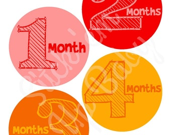 Monthly Baby Stickers - Baby Age Stickers - Rainbow Baby - Gender Neutral - Baby Photo Prop - Baby Milestone Stickers - Baby Shower Gift