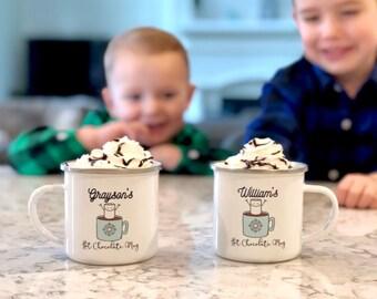 Kids Hot Chocolate Mug - Kids Christmas Mug - Personalized Mug - Christmas Gift Kids - Campfire Coffee Mug - Modern Christmas - Family Time