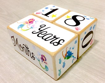 Baby Girl - Mermaid - Baby Age Blocks - Baby Milestone Blocks - Baby Photo Props - Monthly Baby Blocks - Baby Accessories - Baby Gift