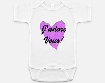Newborn Gift - Baby Shower Gift - Baby Girls Shirt - J'adore Vous Shirt - Girls One-piece - Shirts - Top - Gifts for Girls - Love shirt