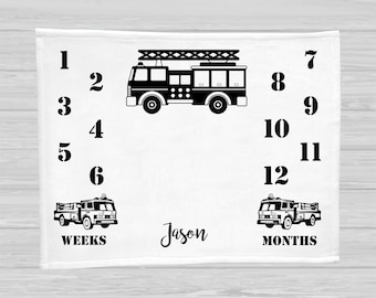 Baby Milestone Blanket - Firetruck - Baby Boy Gift - Monthly Baby Blanket - Age Blanket - Personalized Baby Blanket - Children's Photo Props