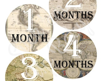 Monthly Baby Stickers - Baby Age Stickers - Baby Boy - Vintage Maps - Baby Milestone Stickers - Baby Photo Prop
