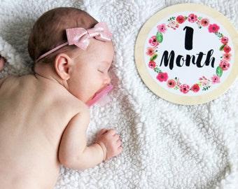 Baby Girl - Baby Milestone Shape™ - Baby Milestone Cards - Baby Milestone Blanket - Children's Photo Prop - Baby Age Blocks - Floral Nursery