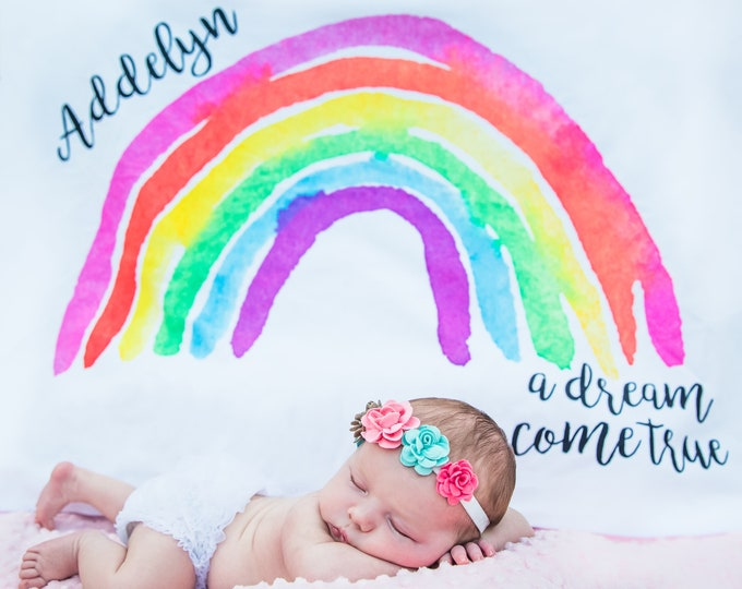 Featured listing image: Rainbow Baby Blanket - Baby Milestone Blanket - Rainbow Baby Gift - Monthly Baby Blanket - Age Blanket - Personalized Baby Blanket - Girl