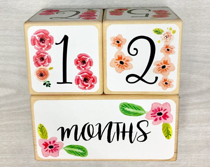 Featured listing image: Baby Girl - Baby Age Blocks - Baby Milestone Blocks - Baby Photo Props - Monthly Baby Blocks - Baby Accessories - Baby Gift - Nursery Decor