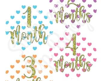 Monthly Baby Stickers - Baby Age Stickers - Girl - Hearts - Milestone Stickers - Baby Photo Prop - Baby Shower Gift - Newborn - Glitter