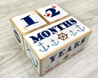 Baby Age Blocks - Nautical Nursery - Achors - Newborn - Baby Monthly Milestone - Monthly Blocks - Baby Boy Milestone - Newborn Photo Props