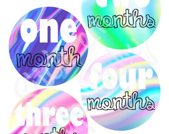 Monthly Baby Stickers - Baby Age Stickers - Baby Girl - Funky - Baby Milestone Stickers - Baby Photo Prop