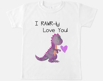 Girls Shirt - Girl Dinosaur Gift - I RAWR-ly Love You Shirt - Girls Dinosaur Shirt - Top - Gifts for Girls - Toddler clothing - Dinosaur