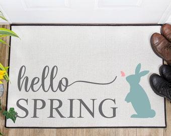 Hello Spring Doormat - Easter Doormat - Spring Doormat - Indoor Mat - Outdoor Mat - Door Mat - Spring Home Decor - Easter Decor - Bunny