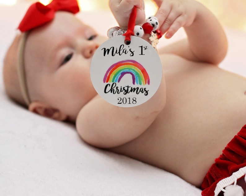 Personalized Ornament Rainbow Baby Baby's First image 0