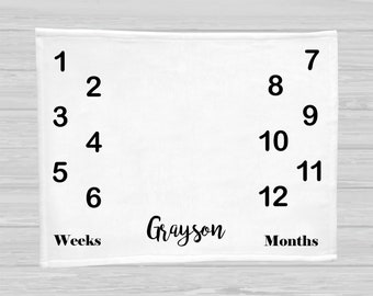 Baby Milestone Blanket - Baby Boy - Baby Girl - Baby Shower Gift - Monthly Blanket - Personalized Baby Blanket - Gender Neutral Baby Gift