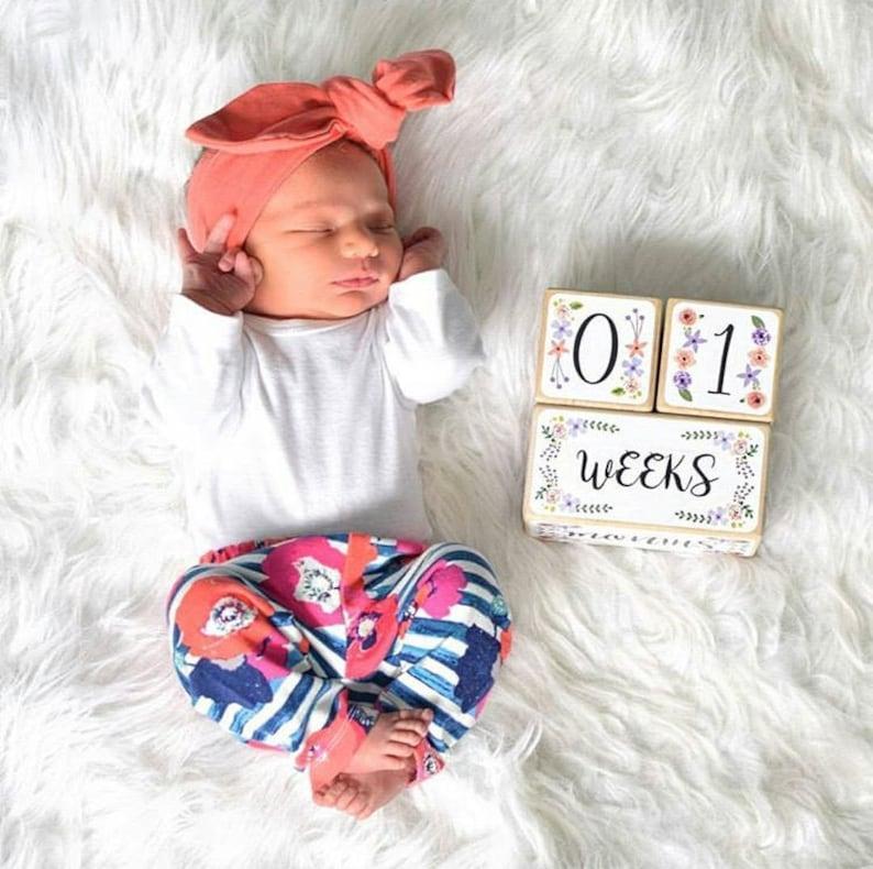 Baby Girl  Baby Age Blocks  Baby Milestone Blocks  Baby image 0