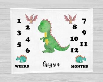 Dinosaur Baby Milestone Blanket - Baby Boy Gift - Monthly Baby Blanket - Age Blanket - Personalized Baby Blanket - Growth Blanket - Dino